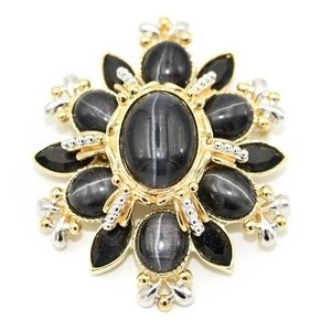 St John Gold Tone Charcoal Star Cab Brooch Pendant